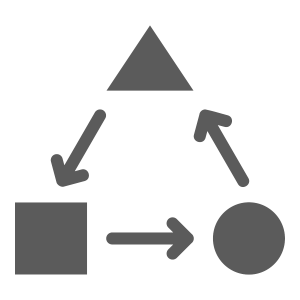 Icon of a square, circle, and triangle with arrows between them to signify the concept of interoperability