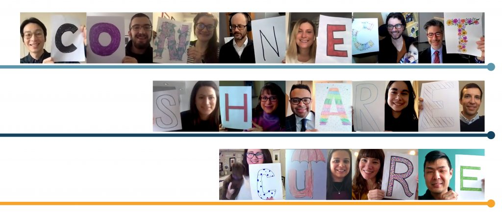 "Collage of photos of PCDC team members holding letters to spell ""Connect Share Cure"""
