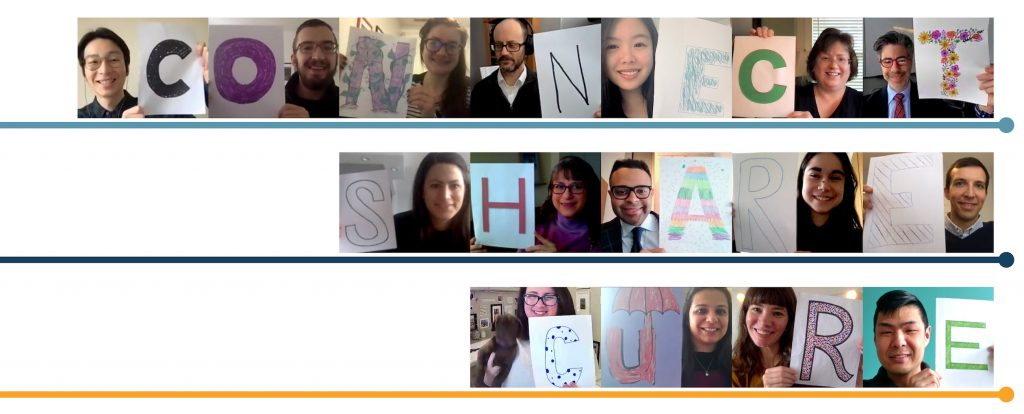 """Collage of photos of PCDC team members holding letters to spell """"Connect Share Cure"""""""